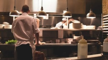 workers in kitchen