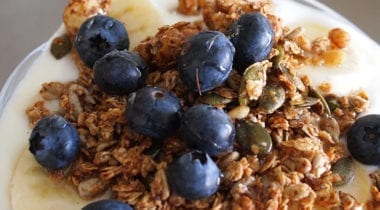 yogurt with granola and blueberry cup