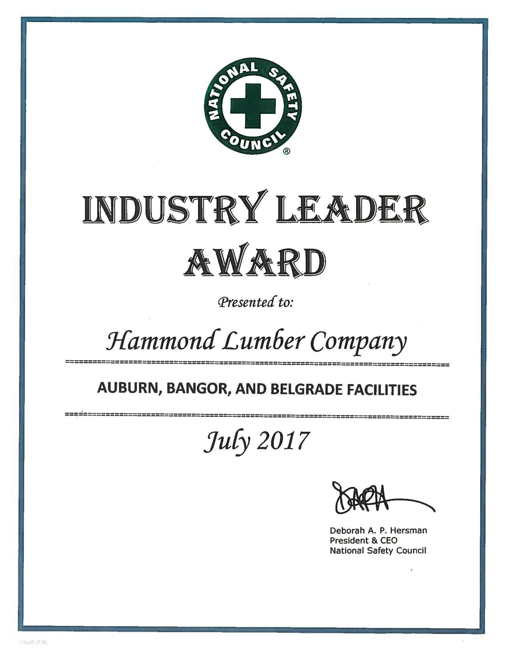 Industry Leader Award 2017 National Safety Council Hammond Lumber Company