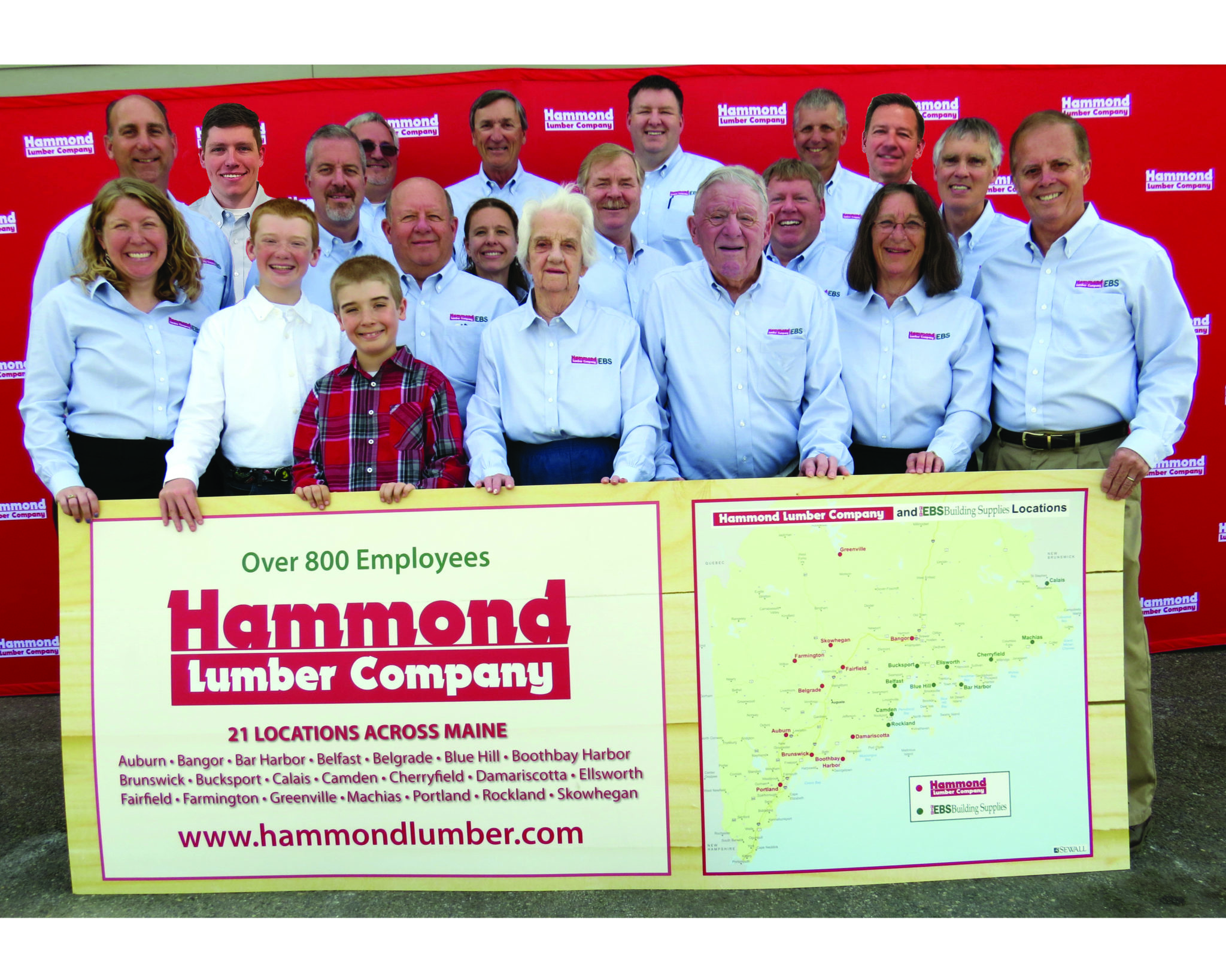The Hammond family with Hammond Lumber staff and former Shareholders of EBS.