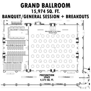 grand ballroom blueprint design graphic