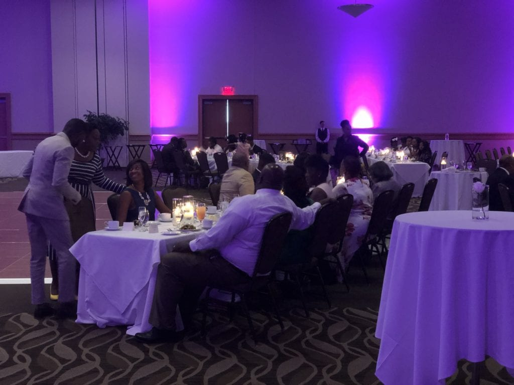 photo of sharpe wedding hosted by the cross insurance center in the ballroom