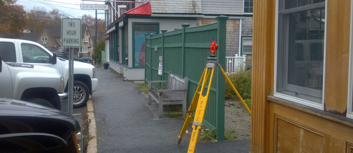 photo of surveying equipment in town