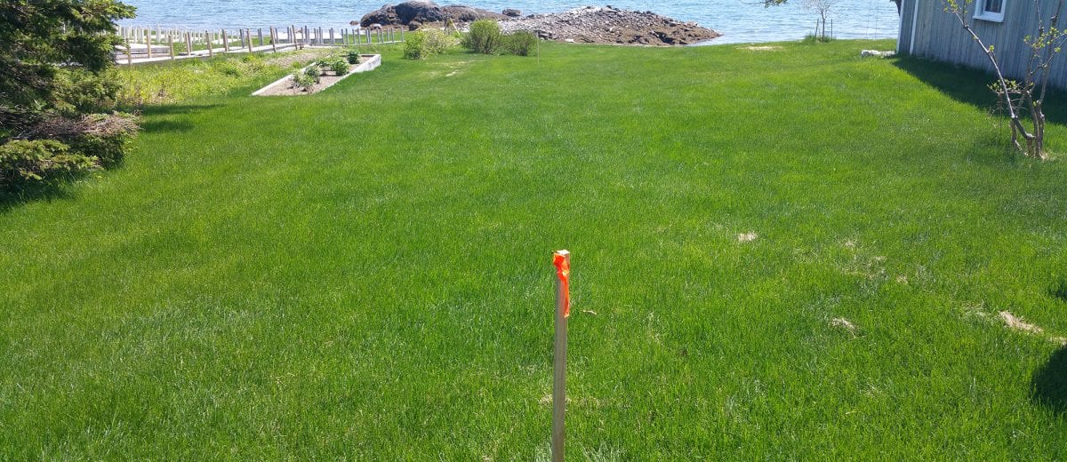 photo of a boundary stake on a lawn