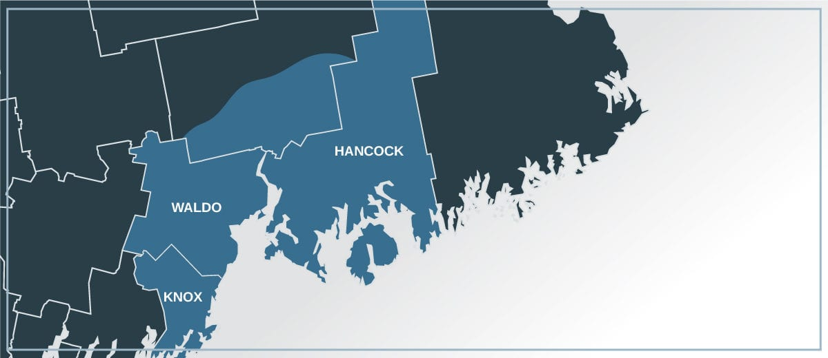 map of maine counties with hancock, waldo, knox, and part of penobscot counties highlighted