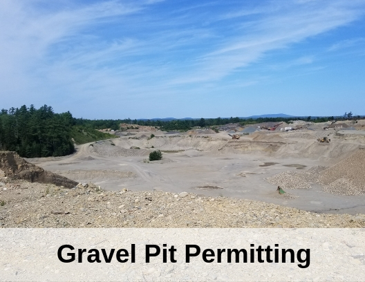 photo of a gravel pit with the words Gravel Pit Permitting