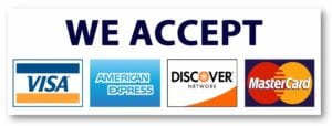 we accept visa american express discover mastercard credit cards