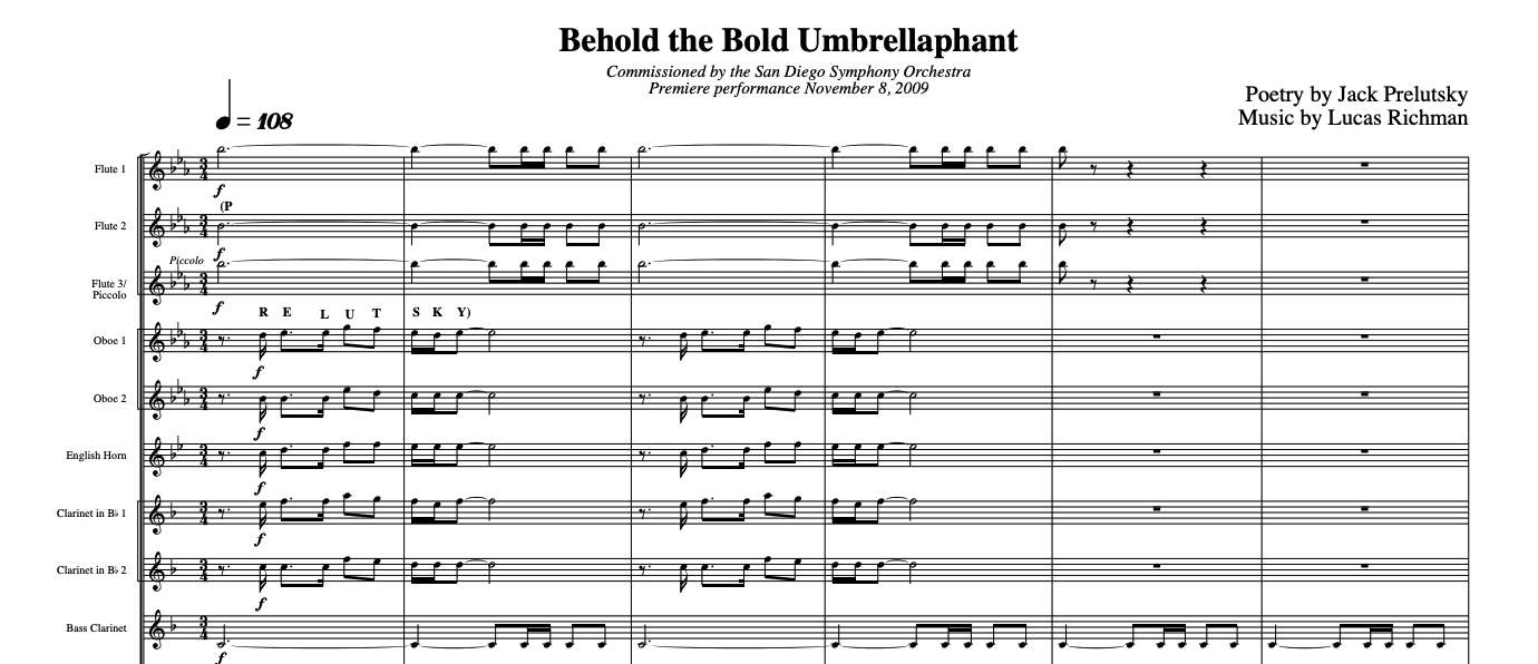 behold the bold umbrellaphant first page of sheet music