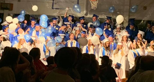 Balloons fall on Sumner graduates in blue and white