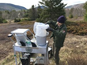 A technician replaces a plastic bucket on a metal table with trees and hills in background.