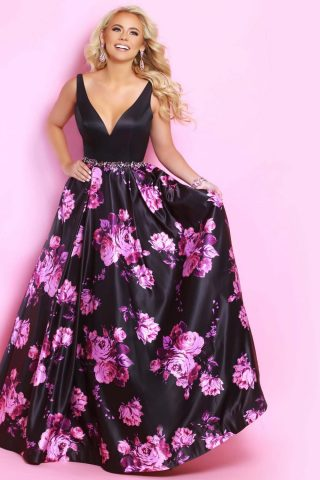 photo of woman in 2 cute prom dress