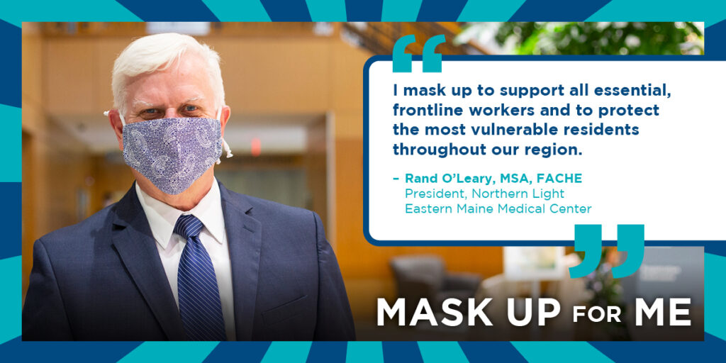 Rand O'Leary from Eastern Maine Medical Center wearing a mask