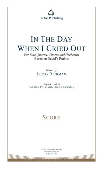 in the day when I cried out for solo quartet, chrous and orchestra score cover