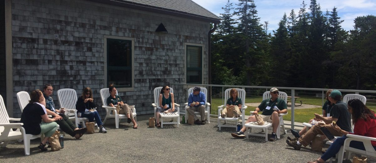 people sit in a semicircle in chairs outside