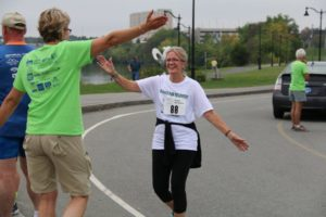 Dawn and a Friend at the Finish Line
